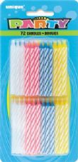 Assorted Striped Birthday Cake Candles 72 Pack